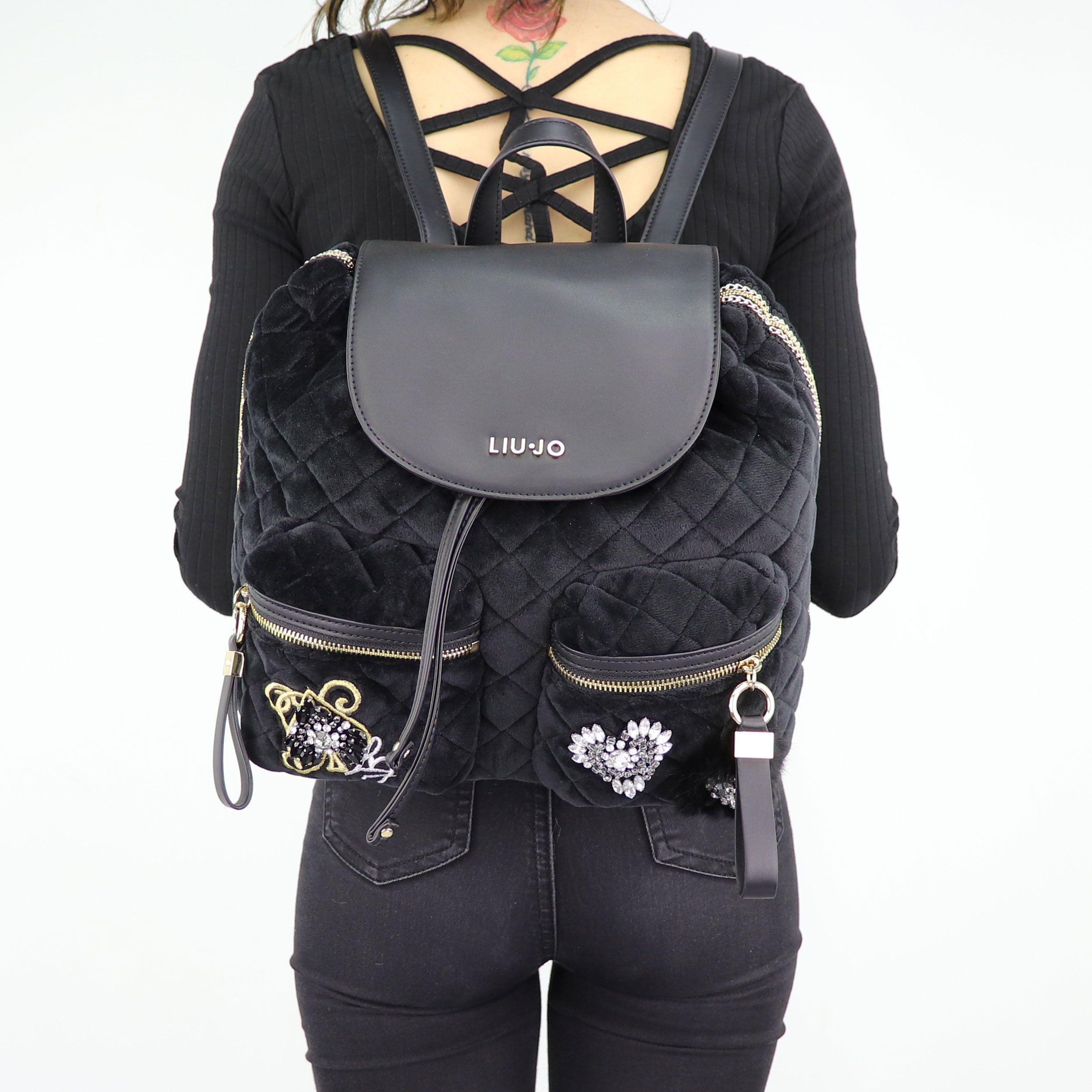 Backpack Liu Jo black velvet Brenta N68062 T9093 In More