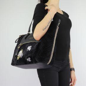 Borsa Liu Jo black shopping velvet Tote Brenta N68060 T9093