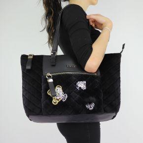 Borsa Liu Jo nera shopping in velluto Tote Brenta N68060 T9093