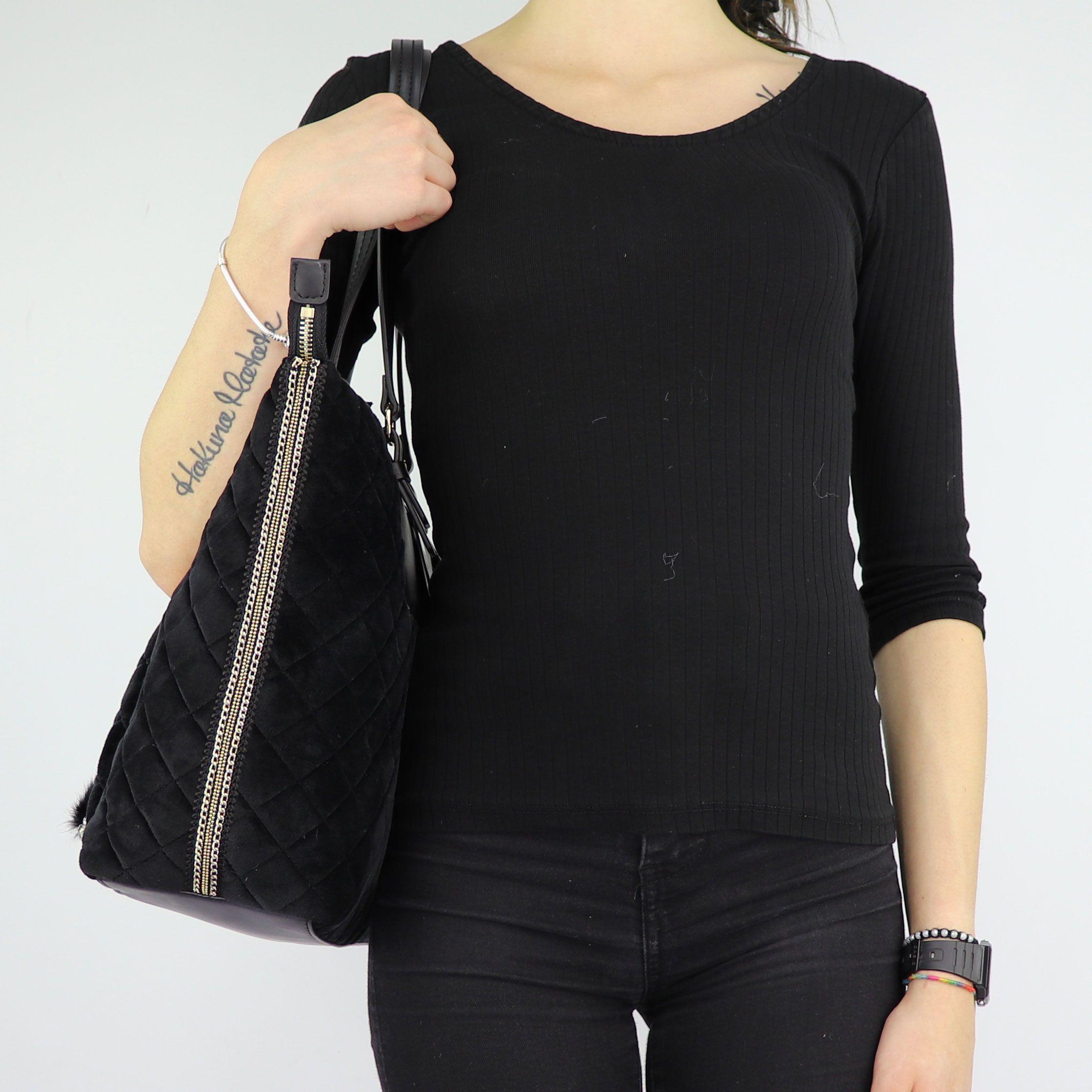 Borsa Liu Jo nera shopping in velluto Tote Brenta N68060 T9093  b357188b832