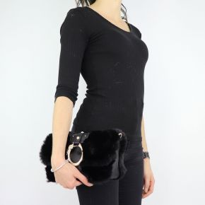Borsa Liu Jo made of black fur shoulder bag Crossbody Dock N68040 E0218