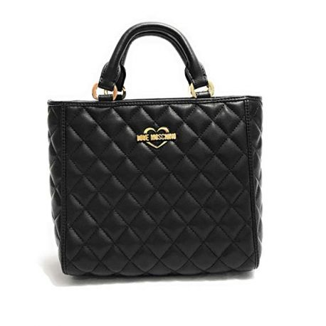 Einkaufstasche-Love Moschino gesteppte schwarze
