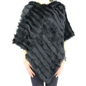 Poncho in pelliccia di coniglio Liu Jo nero A68285 P0300