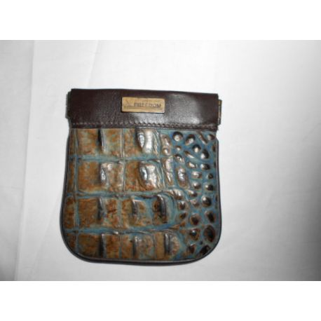 COIN PURSE SNAP LEATHER BROWN AND CCO BLUE/BROWN PLAC METAL BRONZE CAVALLI LOGO