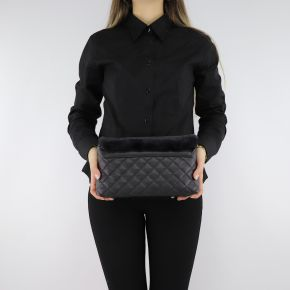 Shoulder strap Love Moschino quilted black with synthetic fur JC430PP06KP100A