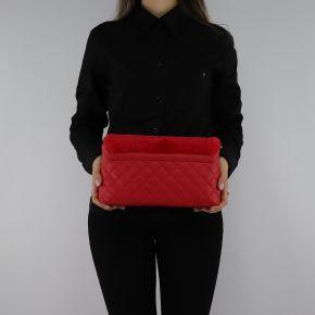 Tracolla Love Moschino trapuntata rossa con pelliccia sintetica JC4300PP06KP150A
