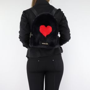 Backpack Love Moschino black fur with red heart JC4327PP06KW100A