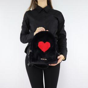 Zaino Love Moschino nero in pelliccetta con cuore rosso JC4327PP06KW100A