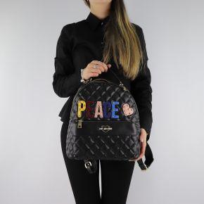 Mochila de Love Moschino negro acolchado con las palabras Paz JC4227PP06KC0000