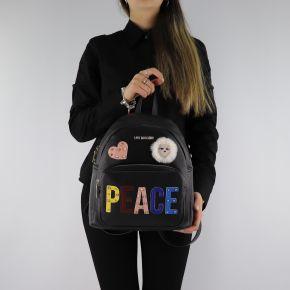 Mochila de Love Moschino negro con las palabras paz JC4270PP06KJ0000
