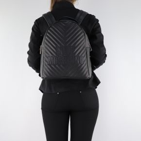 Backpack Love Moschino black quilted with embroidered logo JC4263PP06KI0000