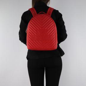 Zaino Love Moschino rosso trapuntato con logo ricamato JC4263PP06KI0500