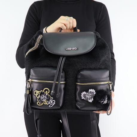 Backpack Liu Jo black velvet N68062 E0412