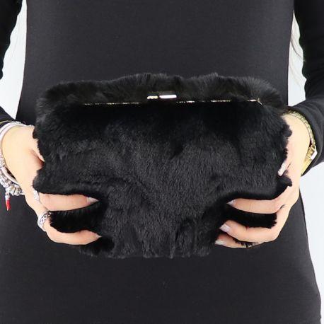Pochette Liu Jo nera con pelliccetta N68141 E0218