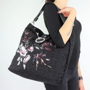Shoulder bag Liu Jo Hobo the Dock with embroidered flowers size L A68035 T6795