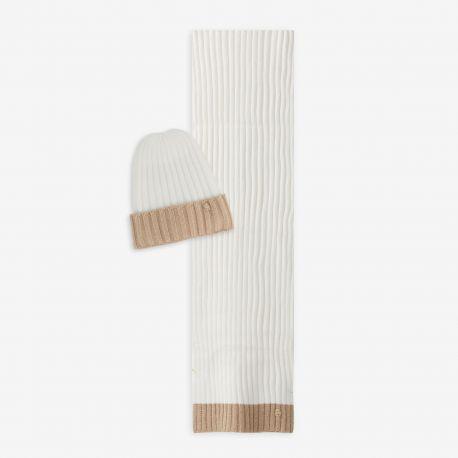 Sciarpa e Cappello Liu Jo coordinato bianco e beige N68255 N0300