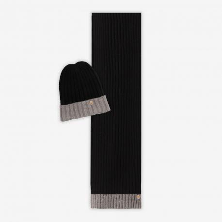 Sciarpa e Cappello Liu Jo coordinato nero e grigio N68255 N0300