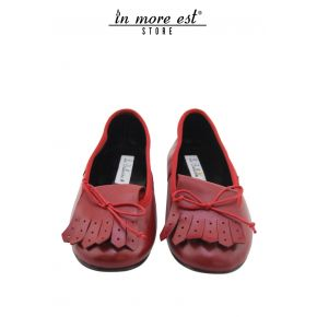 BALLET FLATS WITH FRINGE AND BOW DETAIL CALFSKIN RED