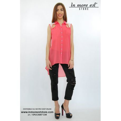 SHIRT ORGANZA CORAL WHITE LACE