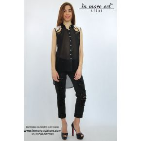 SHIRT BLACK ORGANZA WHITE LACE