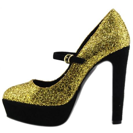 DECOLLETE' HIGH-PLATEAU GOLD GLITTER HEEL/PLATEAU BLACK SUEDE