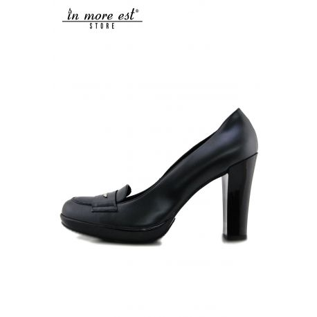 DECOLLETE' HIGH BLACK CALF PLATEAU/HEEL GLOSSY BLACK STICKER GUARDIANS METAL SILVER
