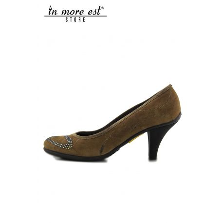 PUMPS' LOW SUEDE TAUPE BACK/HEEL, BROWN RUBBER LOGO GUARDIANS RHINESTONES