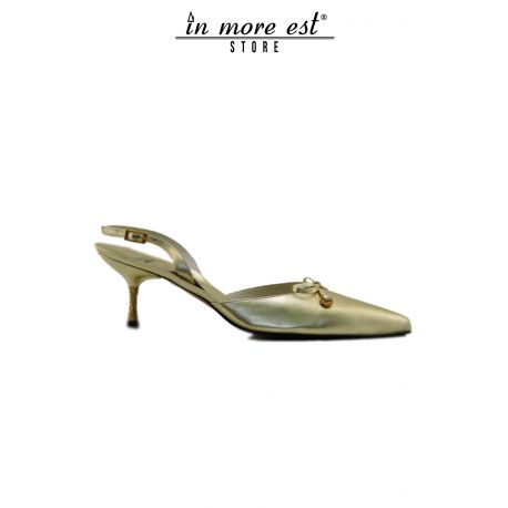 DECOLLETE, LOW-CEREMONY, BOW DETAILING CALF LAMIN GOLD HEEL GOLD TEMPEST SW GOLD