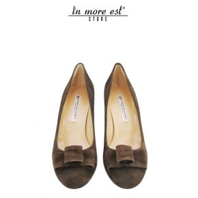DECOLLETE' LOW BOW SUEDE BROWN