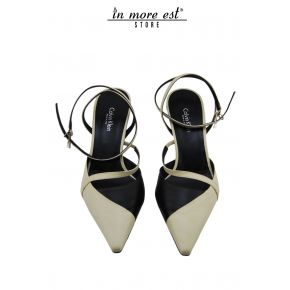 DECOLLETE' LOW TIP, BLACK/CREAM CALF ALLAC ANKLE