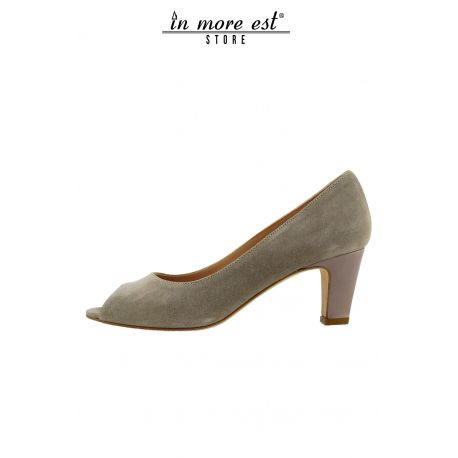 DECOLLETE' LOW POPPED UP SUEDE TAUPE