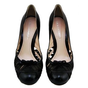 DECOLLETE' LOW BLACK PATENT SHINY BOW ROUND TOE