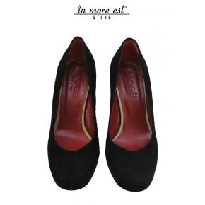 DECOLLETE' MEDIUM BLACK SUEDE