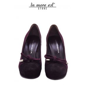 DECOLLETE' MID BOW PLATEAU SUEDE BURGUNDY/BROWN