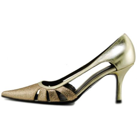 Decollete' in the middle, in black leather with fringes, heel, in black suede, it buckles in silver metal