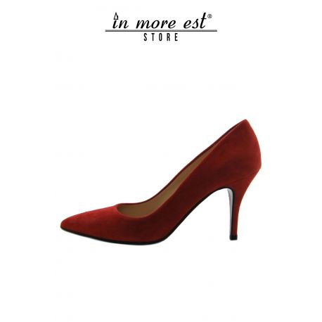 DECOLLETE' MEDIUM TIP-RED SUEDE