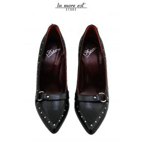 DECOLLETE' MEDIUM TOE BLACK CALFSKIN BUCKLE/STUDS METAL SILVER
