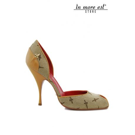 DECOLLETE' MID CHECKED BEIGE WITH SYMBOL PACIOTTI HEELS LEATHER NAMEPLATE PACIOTTI SIDE