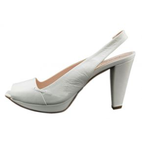 DECOLLETE' MEDIUM-POPPED, WHITE LEATHER