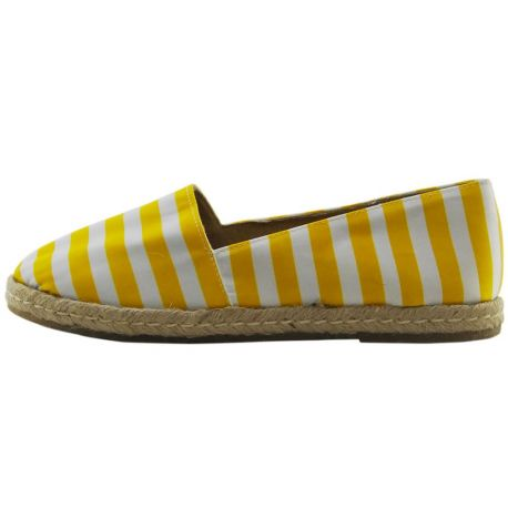 ESPADRILLES WOVEN STRIPED YELLOW WHITE THE BOTTOM ROPE AND RUBBER