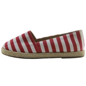 ESPADRILLES WOVEN STRIPED RED WHITE BOTTOM ROPE AND RUBBER