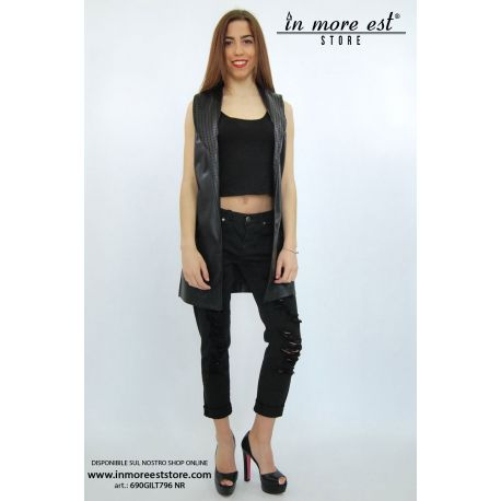 VEST FAUX LEATHER BLACK NECK-THROUGH