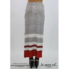 LONG GRAY SKIRT BOTTOM RED AND WHITE STRIPED SIDE SLIT