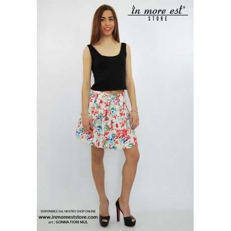 PLEATED SKIRT BEIGE FLOWER PRINT MULTICOLOR COTTON/POLY