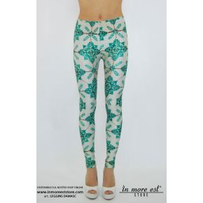 LEGGINGS DAMASC GREEN POLY MULTICOLOR