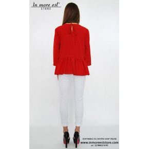 RED JERSEY 3/4 SLEEVES RUFFLE FRONT FLOUNCE BELOW