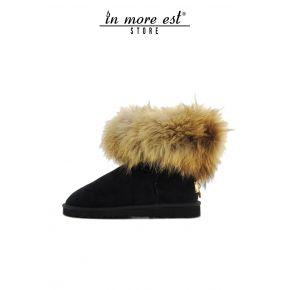 MAMMHUT BLACK SUEDE REAL FUR BROWN