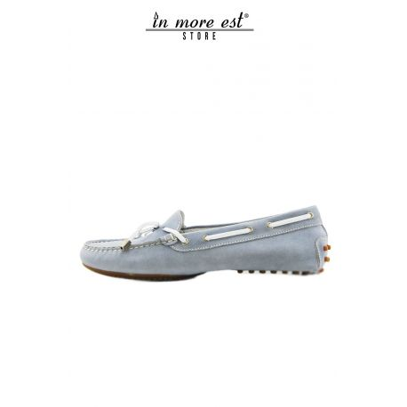 MOCCASIN SUEDE BLUE BOW TIE/TAPE STRIPS-WHITE