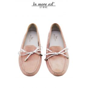 MOCCASIN PINK SUEDE BOW TIE/TAPE STRIPS-WHITE