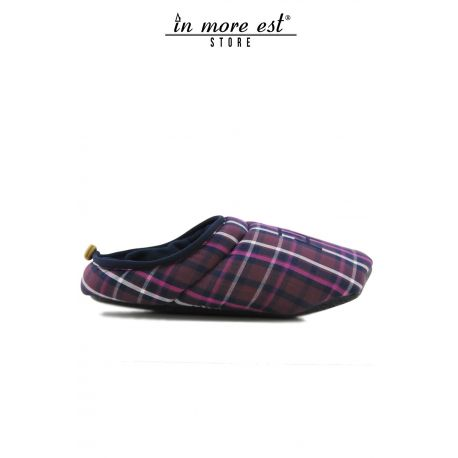 THE SLIPPER HOUSE PLAID PURPLE COTTON WARM